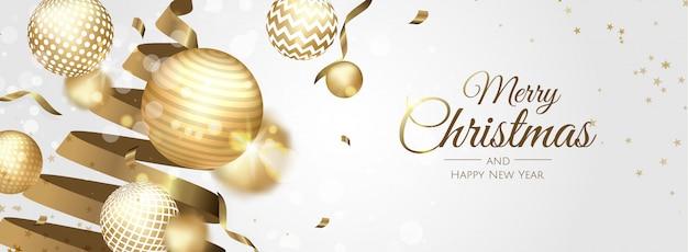 Goldene weihnachtskugeln, die fahne grüßen Premium Vektoren
