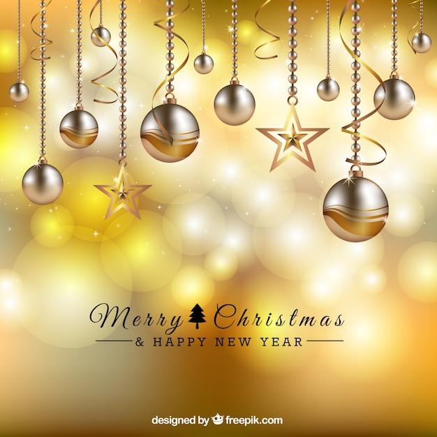 Goldene Weihnachtskugeln.Goldene Weihnachtskugeln Hintergrund Download Der Premium Vektor