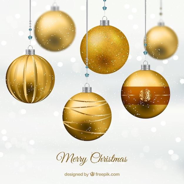 Goldene Weihnachtskugeln.Goldene Weihnachtskugeln Download Der Kostenlosen Vektor