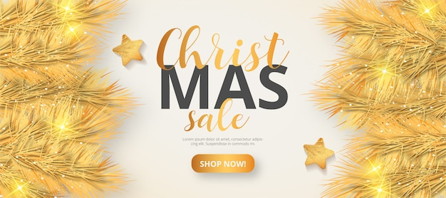 Goldene weihnachtsverkaufs-fahnenschablone Kostenlosen Vektoren