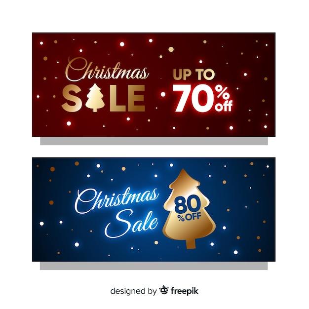 Goldene weihnachtsverkaufsfahnen Kostenlosen Vektoren