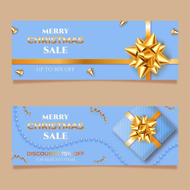 Goldene weihnachtsverkaufsfahnenschablone Kostenlosen Vektoren