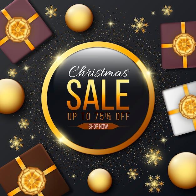 Goldene weihnachtsverkaufsvorlage Kostenlosen Vektoren