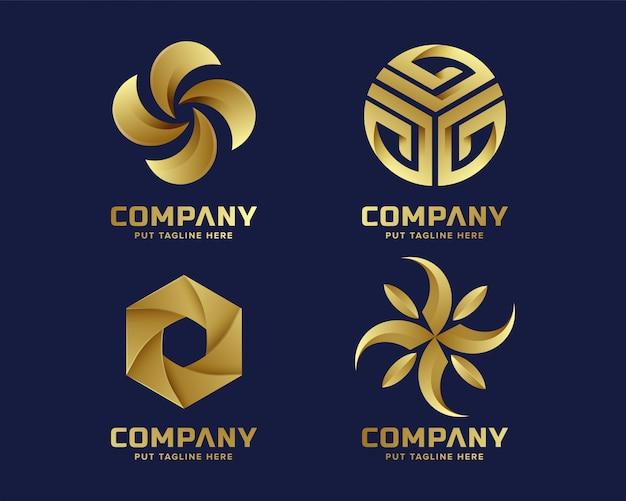 Goldene zeichensammlung des abstrakten geschäfts Premium Vektoren