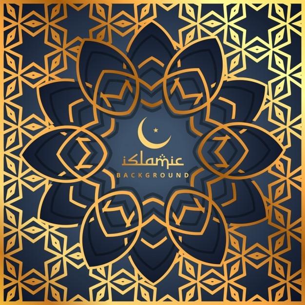 Goldenem muster hintergrund mit islamischen form Kostenlosen Vektoren