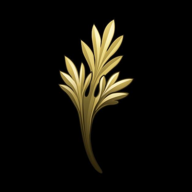 Goldener barocker blumenelementvektor Kostenlosen Vektoren