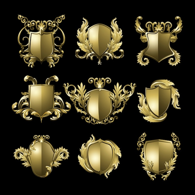 Goldener barocker schildelementvektorsatz Kostenlosen Vektoren