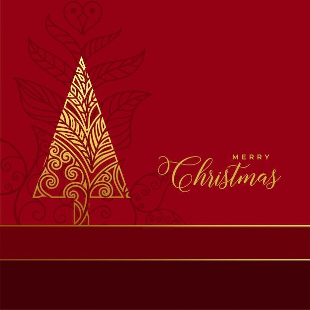 Goldener blumenweihnachtsbaum-dekorationshintergrund Kostenlosen Vektoren
