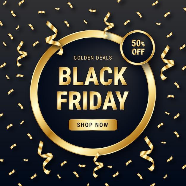 Goldener confetti black friday-verkaufs-hintergrund Kostenlosen Vektoren