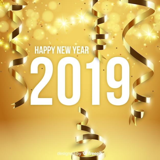 Goldener Dekorationshintergrund des neuen Jahres Kostenlose Vektoren