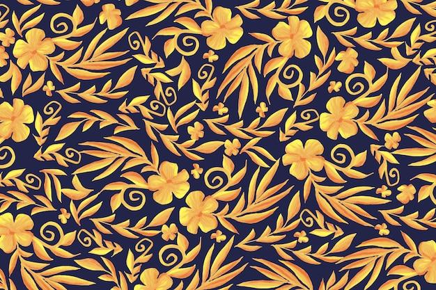 Goldener dekorativer blumenhintergrund Kostenlosen Vektoren