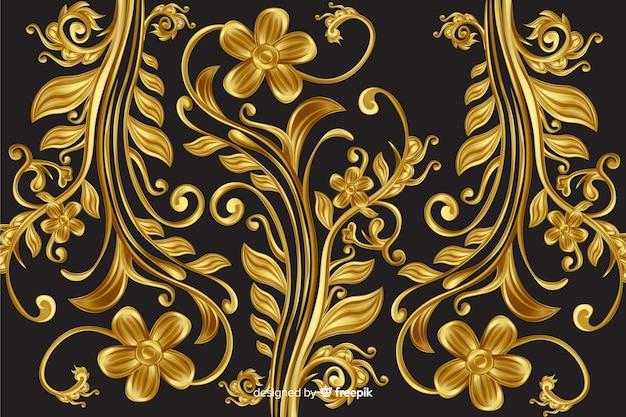 Goldener dekorativer dekorativer mit blumenhintergrund Kostenlosen Vektoren