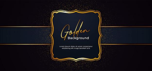 Goldener dekorativer funkelnder rahmen mit goldfunkeln-dekorationseffekt auf hintergrund des dunkelblauen papiers Premium Vektoren