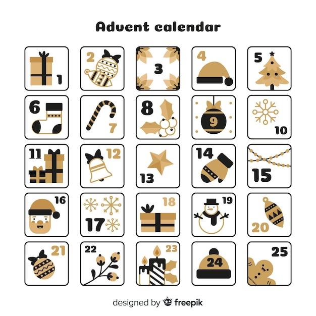 Goldener details adventskalender Kostenlosen Vektoren