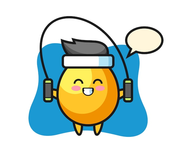 Goldener ei-charakter-cartoon mit springseil, niedlicher stilentwurf Premium Vektoren