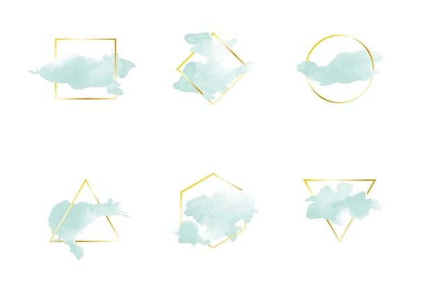 Goldener einfacher rahmen mit aquarellfleck Kostenlosen Vektoren