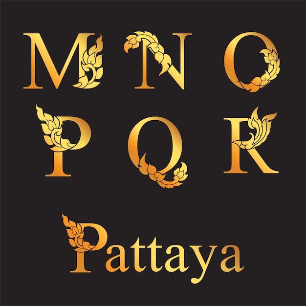 Goldener eleganter buchstabe m, n, o, p, q, r mit thailändischen kunstelementen. Premium Vektoren