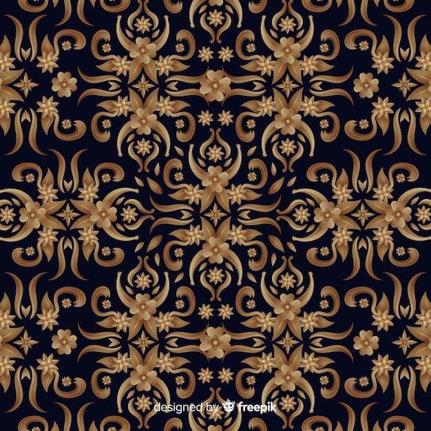 Goldener eleganter dekorativer blumenhintergrund Kostenlosen Vektoren