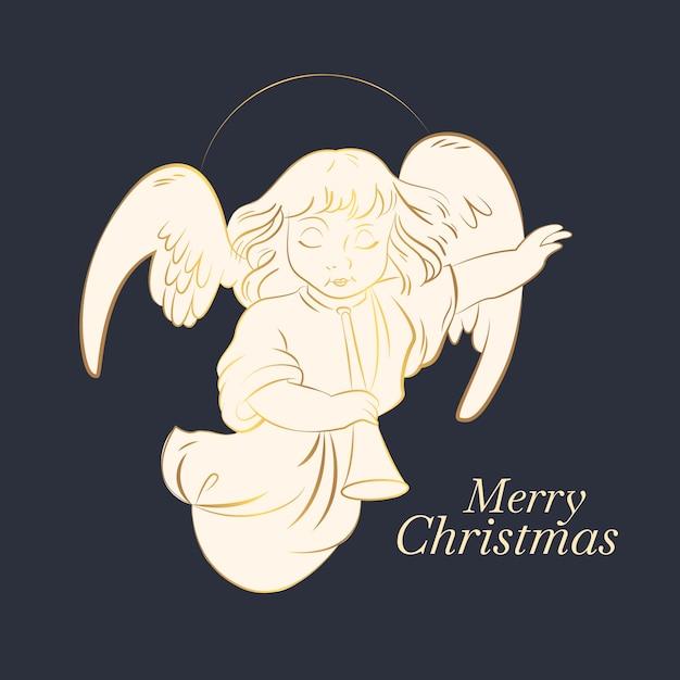 Goldener engel der frohen weihnachten Kostenlosen Vektoren