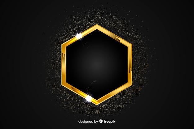 Goldener funkelnder rahmen auf schwarzem hintergrund Kostenlosen Vektoren