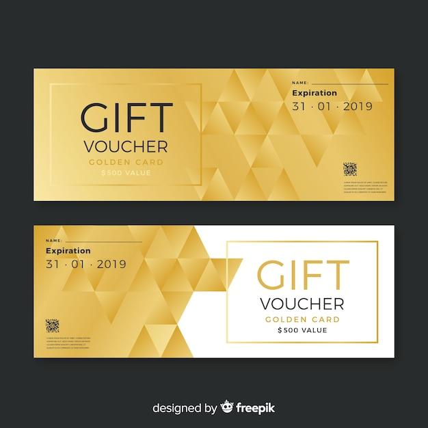 Goldener geschenkgutschein Kostenlosen Vektoren