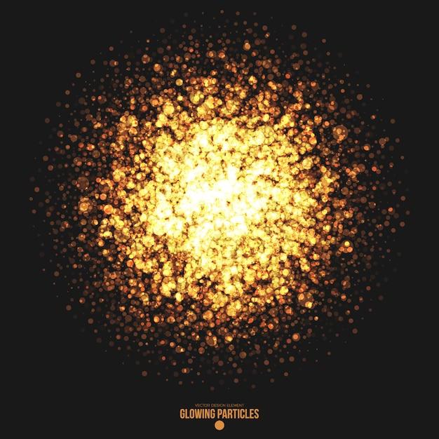 Goldener glühender runder partikel-vektor-hintergrund Premium Vektoren