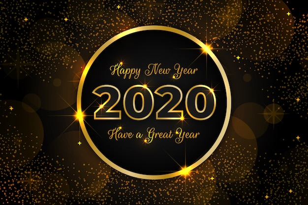Goldener hintergrund 2020 des neuen jahres Kostenlosen Vektoren