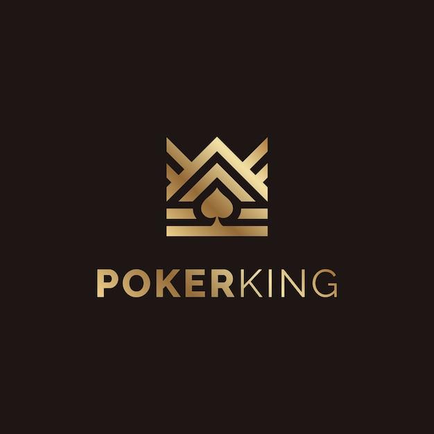 Goldener könig und spade ace für poker-logo-design Premium Vektoren
