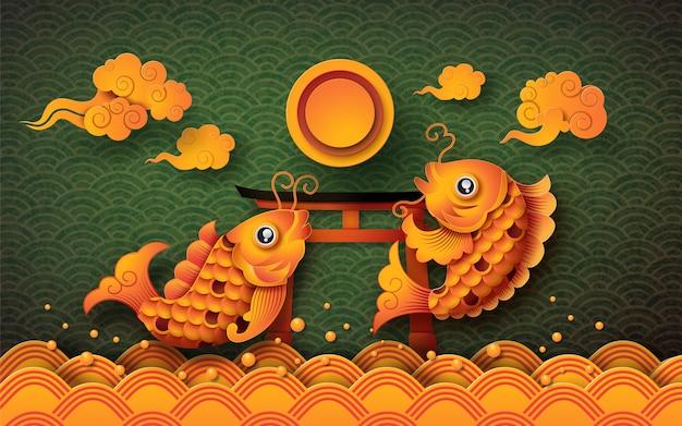 Goldener koi-fisch mit vollmond: mid autumn festival (chuseok) Premium Vektoren