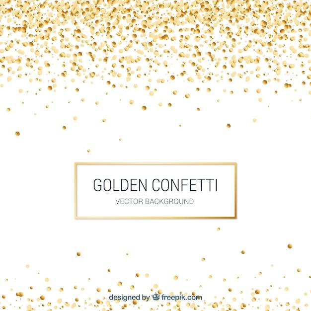 Goldener konfettihintergrund in der realistischen art Kostenlosen Vektoren