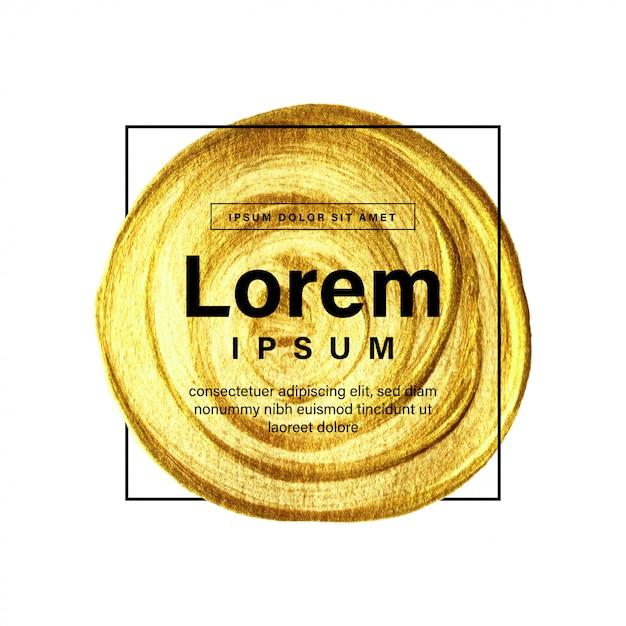 Goldener kreispinselhintergrund mit rahmen und text Premium Vektoren
