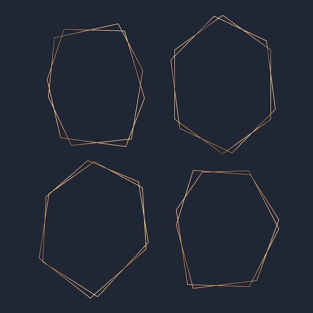 Goldener leerer hexagonrahmenvektorsatz Kostenlosen Vektoren