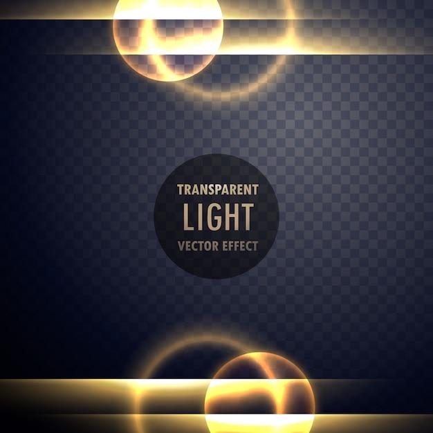Goldener Licht Linseneffekt transparenter Hintergrund Kostenlose Vektoren