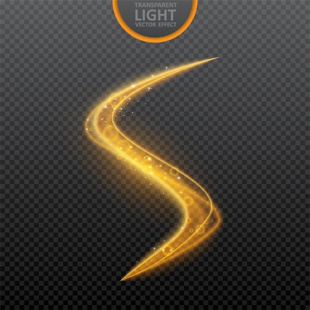 Goldener lichteffekt auf transparentem mit leuchtendem strudellichteffekt Premium Vektoren