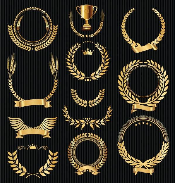 Goldener lorbeerkranz-sammlungsvektor der retro- weinlese Premium Vektoren