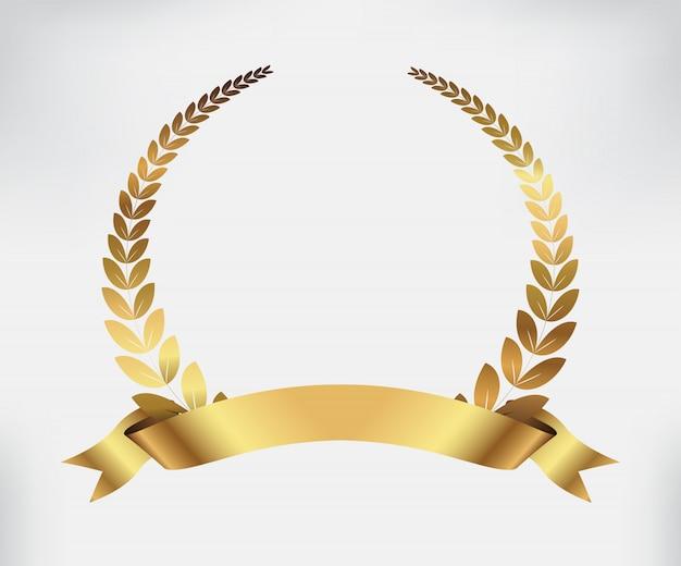 Goldener lorbeerkranz Premium Vektoren
