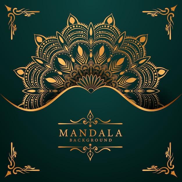 Goldener luxus-mandala-hintergrund mit goldener arabeske arabischer islamischer ostart Premium Vektoren