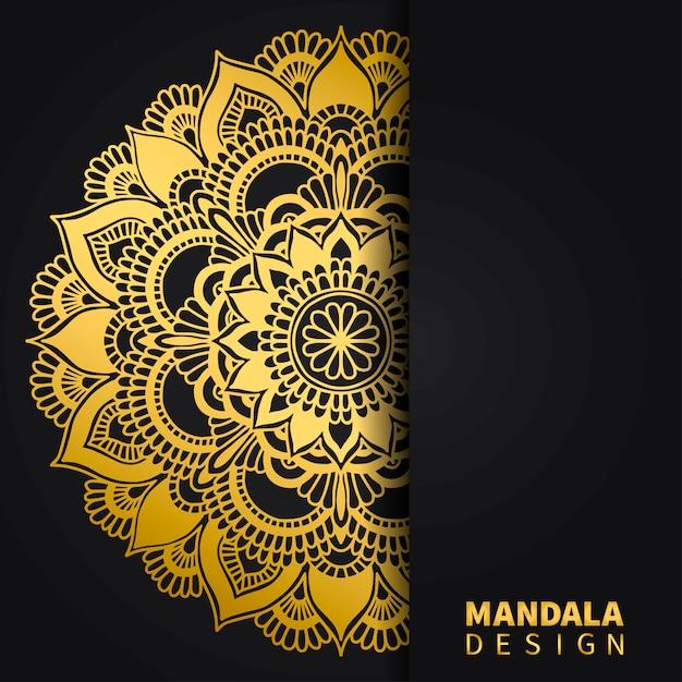 Goldener mandala-designhintergrund. ethnische runde verzierung. hand gezeichnetes indisches motiv. einzigartiger goldener blumendruck. Premium Vektoren