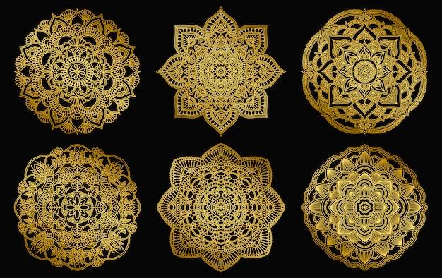 Goldener mandalaentwurf. ethnische runde steigungsverzierung. hand gezeichnetes indisches motiv. mehendi meditationsyoga-hennastrauchthema. einzigartiger blumendruck. Premium Vektoren