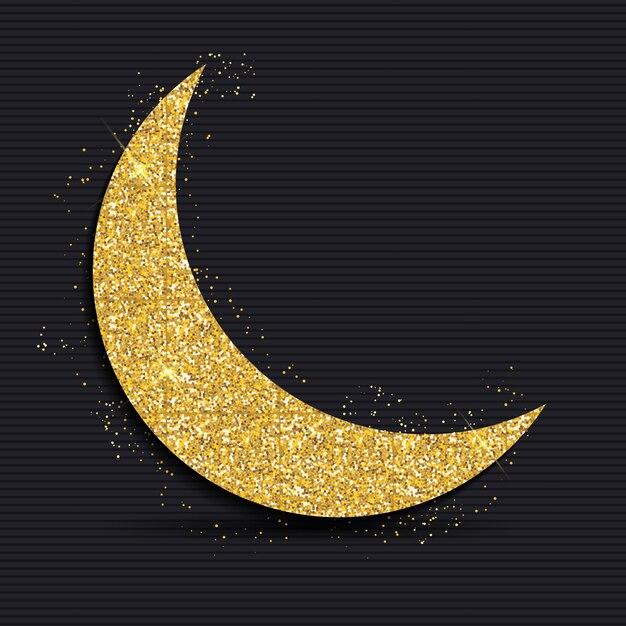 Goldener mond für das muslim community festival ramadan kareem. eid mubarak. Premium Vektoren
