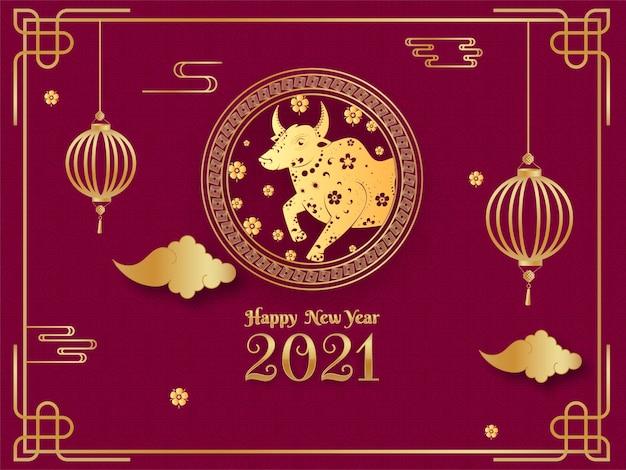 Goldener neujahrstext 2021 mit chinesischem sternzeichenochsen im kreisrahmen Premium Vektoren