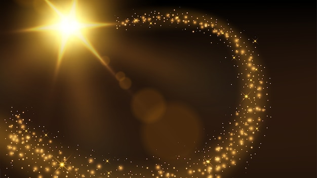 Goldener partikelspurhintergrund Premium Vektoren