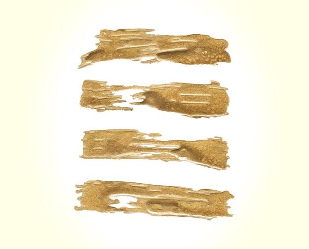 Goldener pinselstrich eingestellt Kostenlosen Vektoren