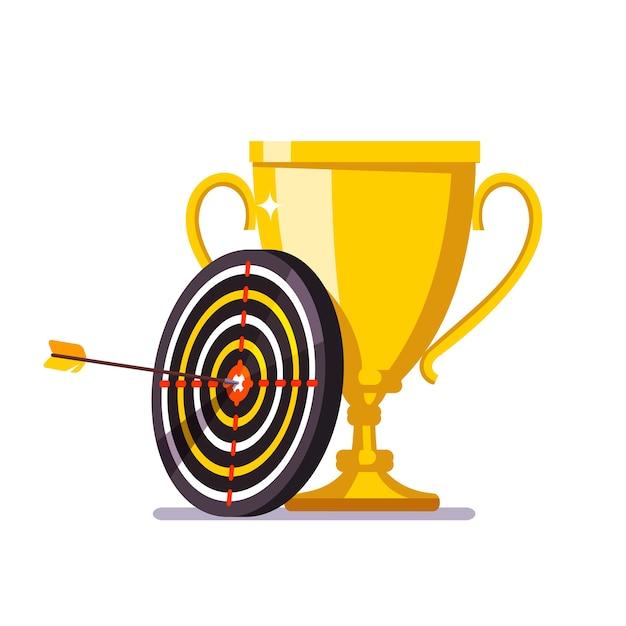 Goldener Pokal mit Pfeil, der in der Zielmitte schlägt Kostenlose Vektoren