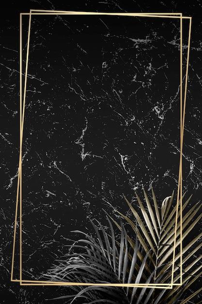 Goldener rahmen auf marmorhintergrund Premium Vektoren