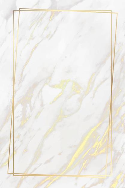 Goldener rahmen auf marmorhintergrund Kostenlosen Vektoren