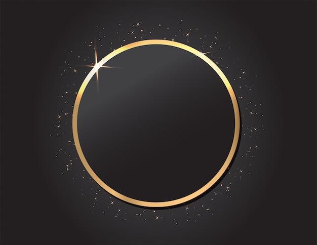 Goldener rahmen auf schwarzem hintergrund Premium Vektoren