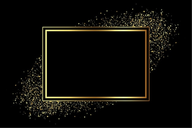 Goldener rahmen mit glitzerstreuung Kostenlosen Vektoren