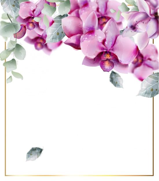 Goldener rahmen mit orchidee blüht aquarell. schöner blumendekorrahmen. goldener text Premium Vektoren