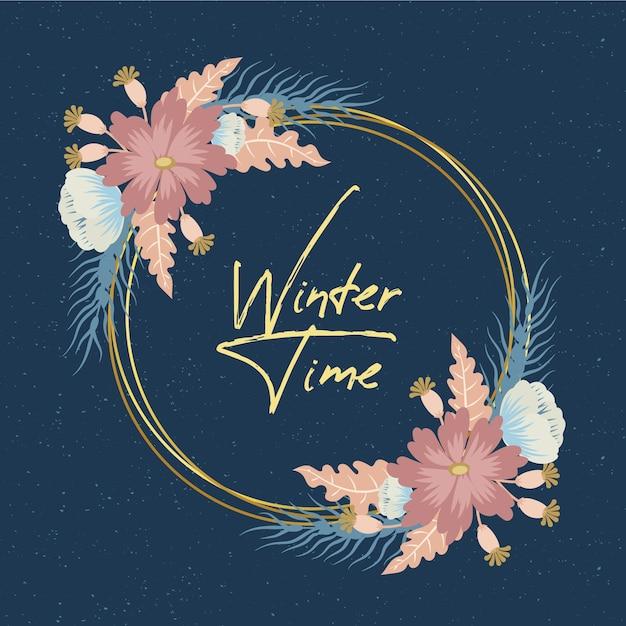 Goldener rahmen mit winterblumen Kostenlosen Vektoren